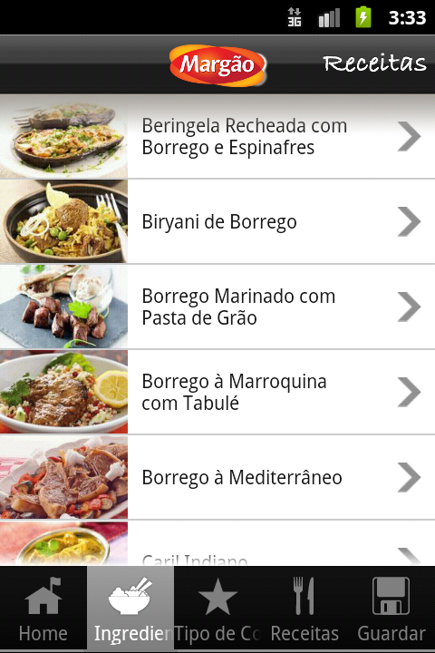 Margao Receitas - screenshot