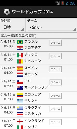 ワールドカップ2014スケジュール