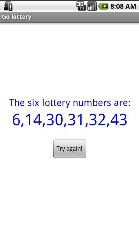 Go lottery- screenshot