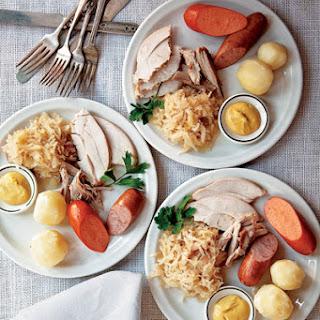 Turkey with Sauerkraut, Riesling, and Pork Sausages.