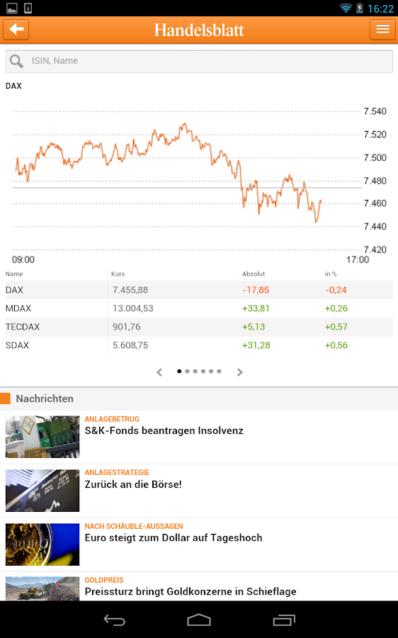 Handelsblatt Online - screenshot