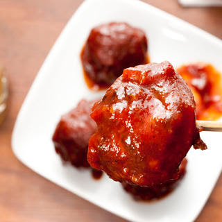 Elk Meatballs with Bourbon Barbecue Sauce.