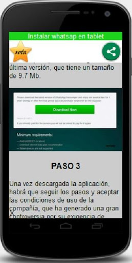 Instalar whatsap en tablet