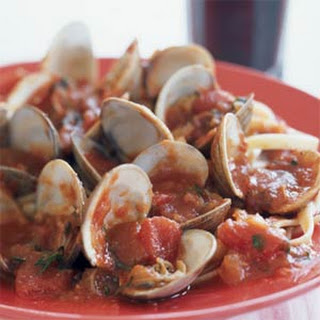Fettuccine with Clams and Tomato Sauce.