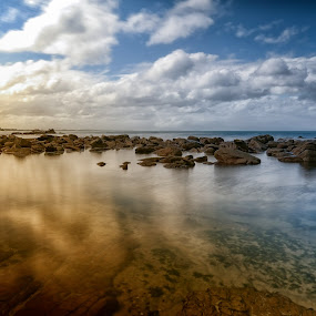 by Randall Langenhoven - Landscapes Waterscapes ( clouds, st james, waterscape, reflections, sea, capetown, wide-angle, rocks )