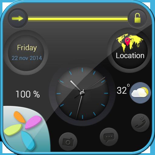 黑色圆圈屏幕锁定 個人化 LOGO-玩APPs