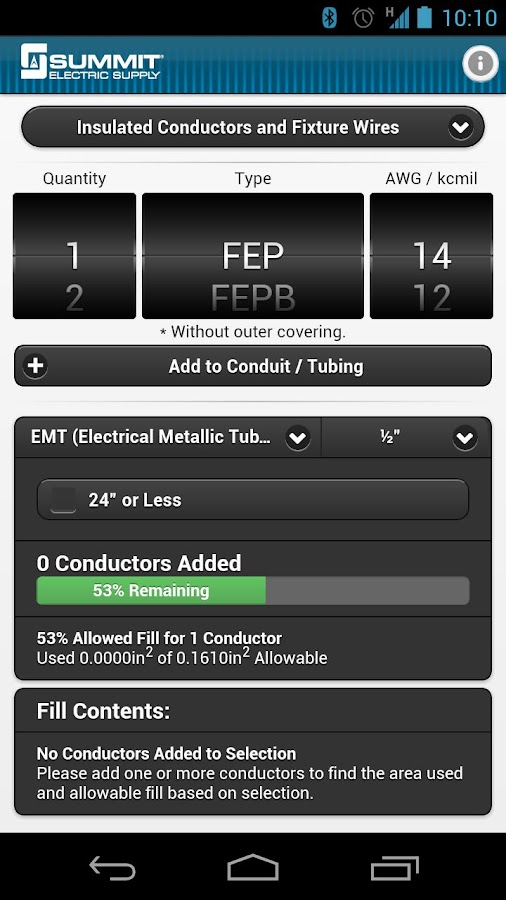 Conduit fill tracker android apps on google play conduit fill tracker screenshot greentooth Images