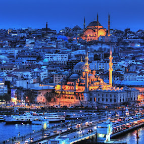 The Mosques of Istanbul... by Avishek Patra - City,  Street & Park  Historic Districts ( mosque, galata, aya sofya, istanbul, blue mosque, galata bridge, golden horn, sultan ahmed, constantinople, bosphorus, topkapi palace, night, sofia hagia, , colorful, mood factory, vibrant, happiness, January, moods, emotions, inspiration )