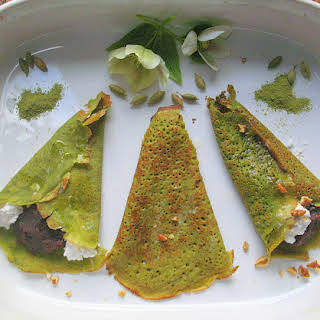 Green Tea Crepes filled with Azuki Cream and Pecans.
