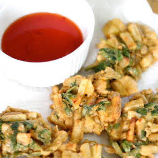 Spinach And Potato Indian Pakoras.