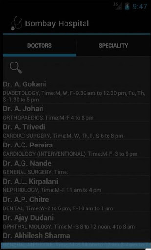 Bombay Hospital Doctors List