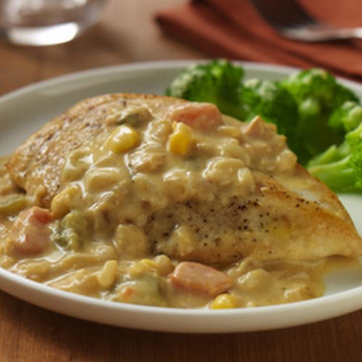 Chicken with Vegetable Cream Sauce Recipe