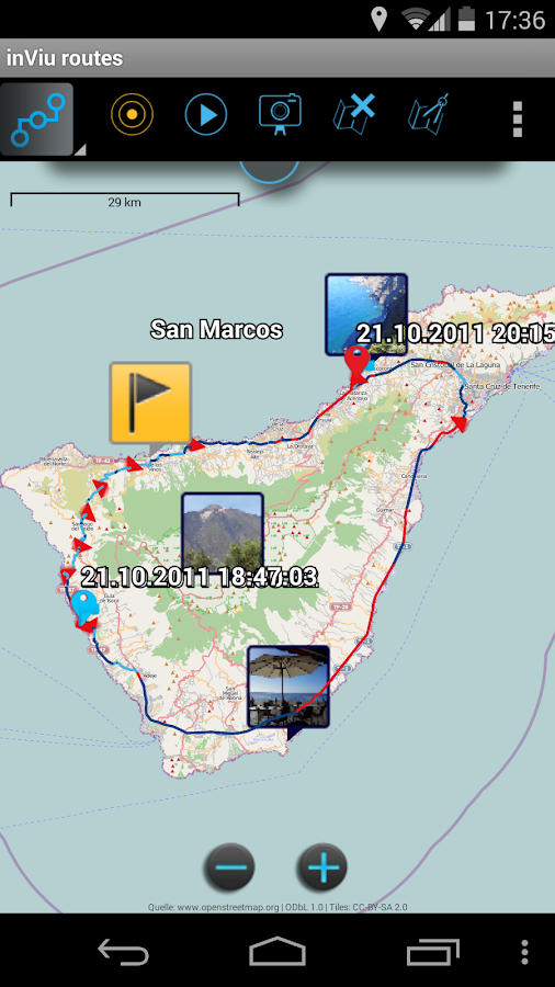 inViu routes GPS tracker OSM - screenshot