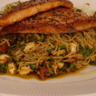 Pan Fried Salmon With Spaghettini Pesto