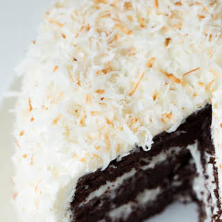 Chocolate Cake with Coconut Cream and Marshmallow Buttercream Frosting.