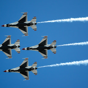 Thunderbird Formation  by Cliff Dowden - Transportation Airplanes ( wings over houston, airplanes, usaf, thunderbirds, airshow, air, transport,  )