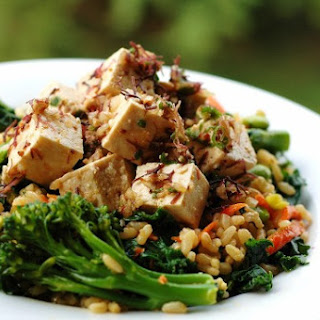 Kale, Brown Rice and Tofu Poke Salad.