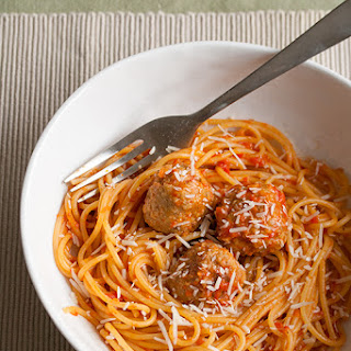 Spaghetti with Chicken Meatballs and Spicy Red Pepper Sauce.