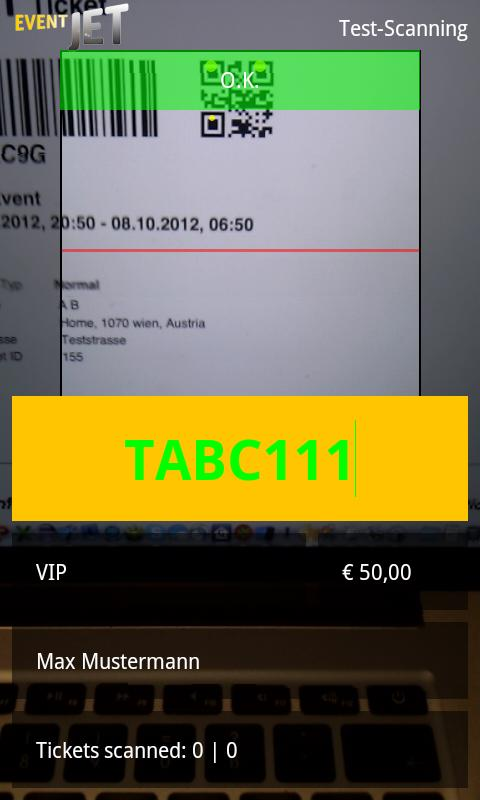 Eventjet Scanner- screenshot