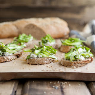 Shaved Asparagus and Goat Cheese Crostini.