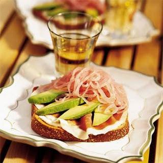 Avocado, Red Onion, and, Prosciutto Sandwiches