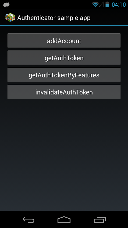 Authenticator Sample App- screenshot