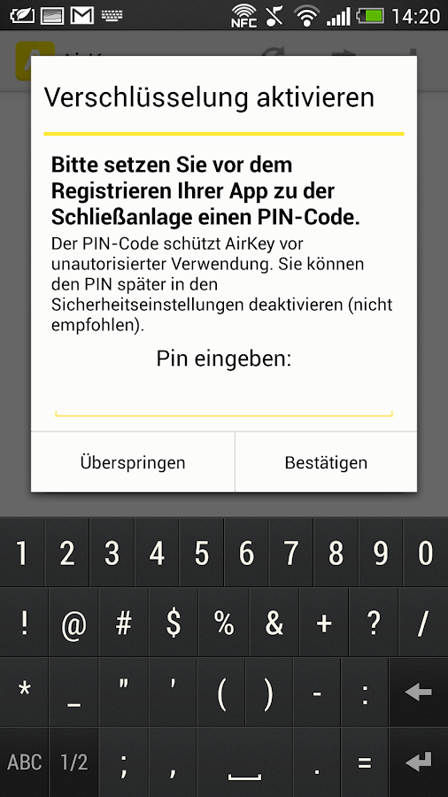 AirKey App – Screenshot