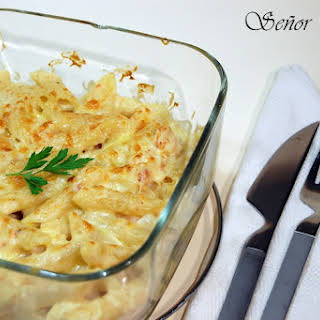 Macaroni and Shrimp Au Gratin.