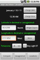 Screenshot of Solar and Moon Calculator