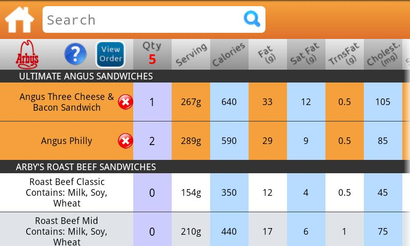 Fast Food Nutrition- screenshot