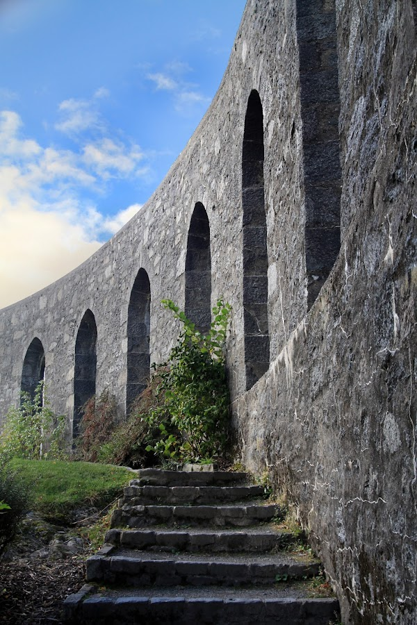McCaig's Tower, Oban. by Ally Macdonald - Buildings & Architecture Public & Historical ( mccaigs tower, nature, steps, sun, oban )