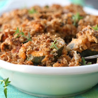 Brinjal And Courgette Bake With A Garlic And Parmesan Crumb.