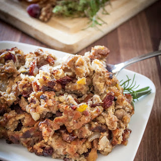Apple Sausage Stuffing with Cranberries, Walnuts, and Fresh Herbs