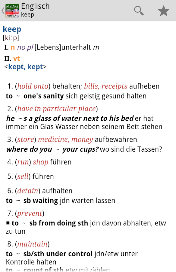 Dictionary German <-> English - screenshot