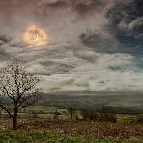 Eclipse by Andrew Magee - Landscapes Prairies, Meadows & Fields ( clouds, scotland, moon, sky, landscape, sun, eclipse )