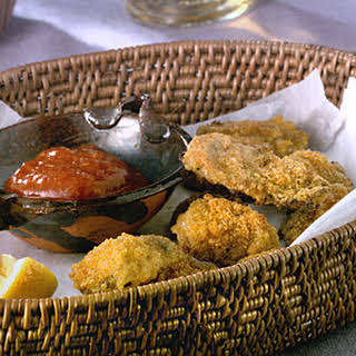 Cajun Oven-Fried Oysters With Spicy Cocktail Sauce.