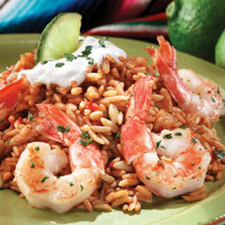 Garlic & Lime Shrimp With Spanish Rice.