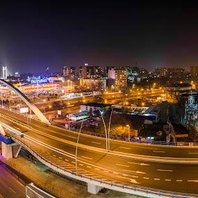 Mega Structures by Stefan Ungureanu - Buildings & Architecture Bridges & Suspended Structures ( podul basarab, bucharest, city lights, photo of the month, bridge, best photo, photo of the day, suspended, basarab, city )