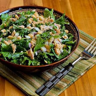 Baby Kale, White Bean, and Tuna Salad with Lemon.