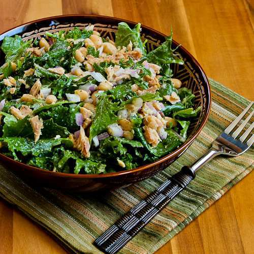 Baby Kale, White Bean, and Tuna Salad with Lemon Recipe
