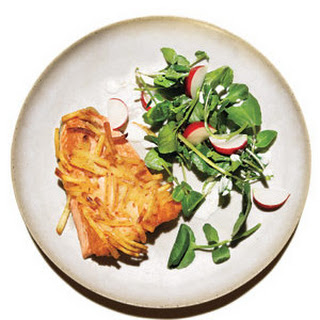 Potato-Crusted Salmon With Watercress Salad