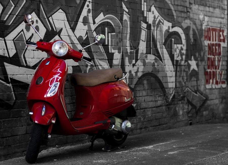 Inner West by Brenden Burkinshaw - City,  Street & Park  Street Scenes ( colour, red, newtown, street, scooter )