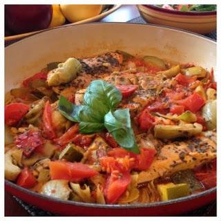 Chicken with Tomato, Zucchini and Artichokes.