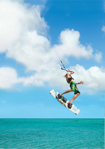 sailboard-air-Aruba - A kitesurfer catches some air in Aruba.