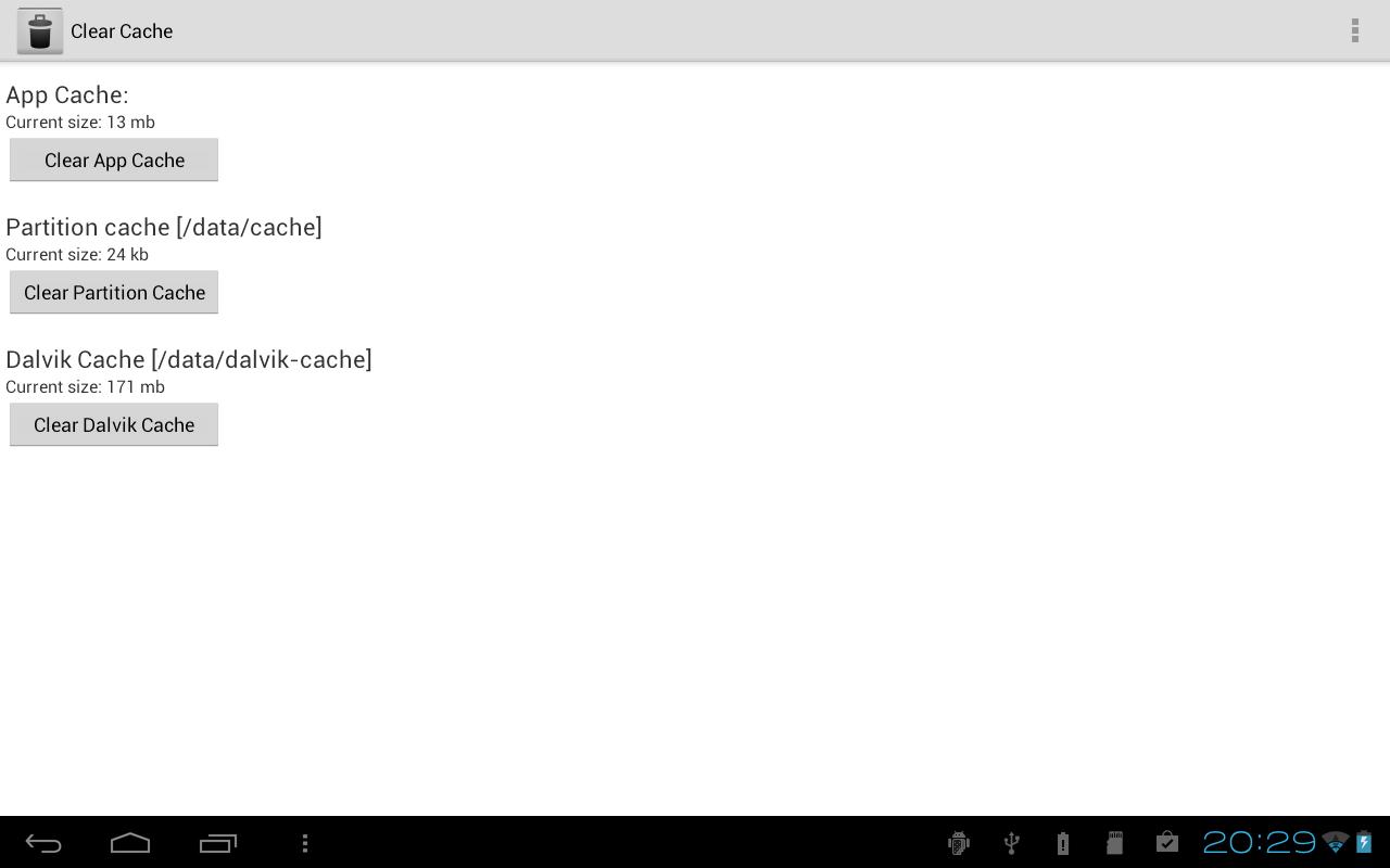 Clear Cache Screenshot