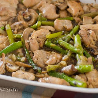 Chicken, Asparagus and Mushroom Bake.
