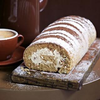 Coffee and walnut Swiss roll.