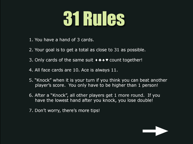 rules of 31 card game