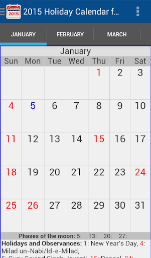 2015 Holiday Calendar India