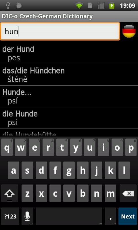 Czech-German offline dict.- screenshot